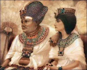 King (pharaoh) and Queen of ancient Egypt. Painting by Winifred Brunton.