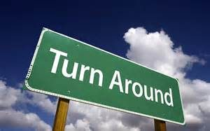 Turn Around sign
